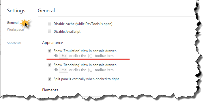 Show Emulation view in console drawer