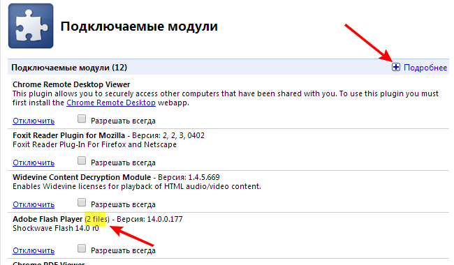 Модули в Google Chrome